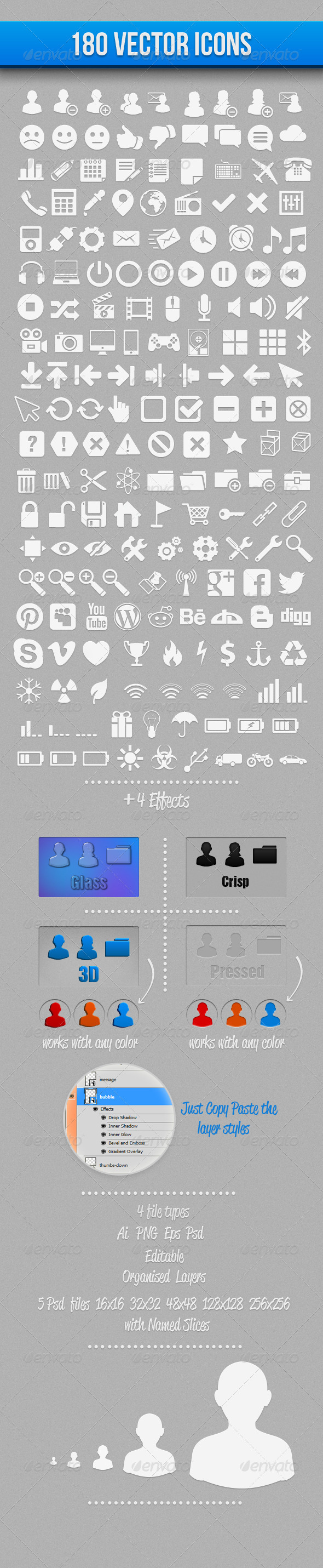 GraphicRiver 180 Vector Icons 2984590
