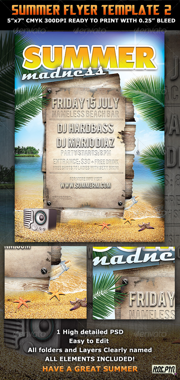 Summer Madness Party Flyer Template  - Clubs & Parties Events