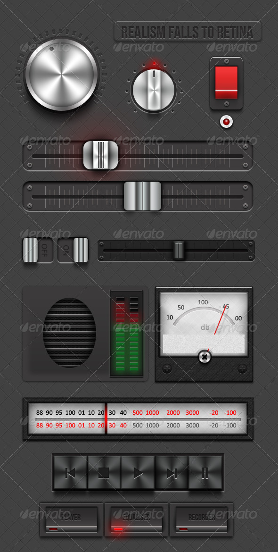 Realism Falls To Retina - Retina Audio Ui  - User Interfaces Web Elements
