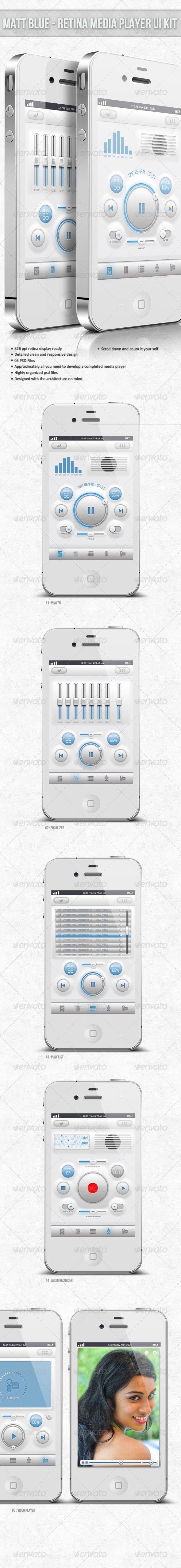 Matt Blue Retina Audio Player UI
