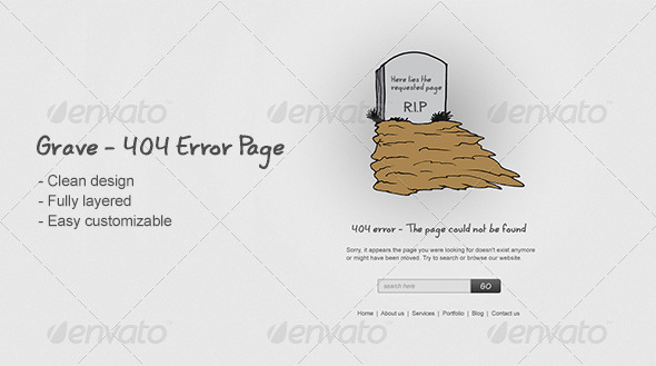 Grave - 404 Error Page - 404 Pages Web Elements