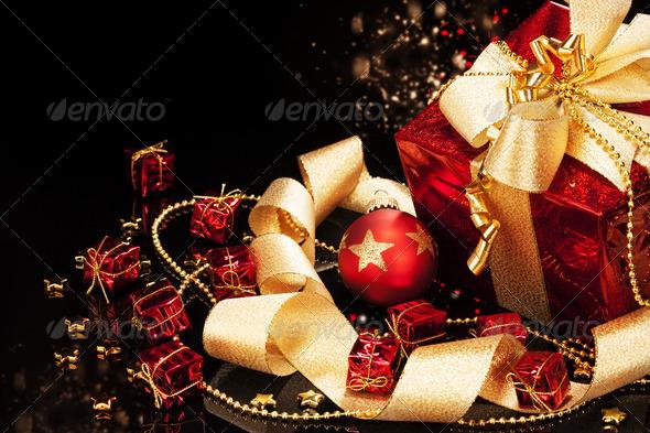 christmas present with christmas ball