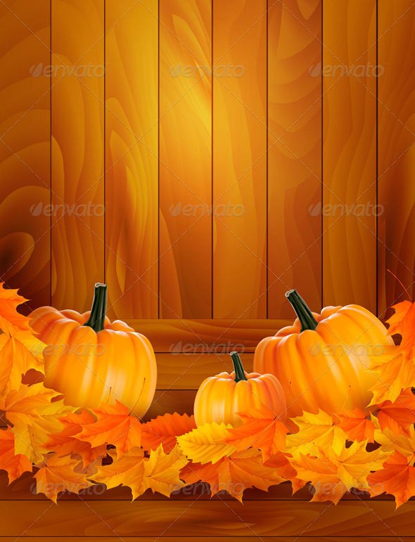 Pumpkins on wooden background with leaves Autumn | Vectors ...