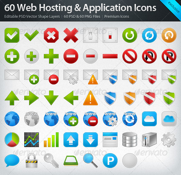 GraphicRiver 60 Web Hosting & Application Icons 309806