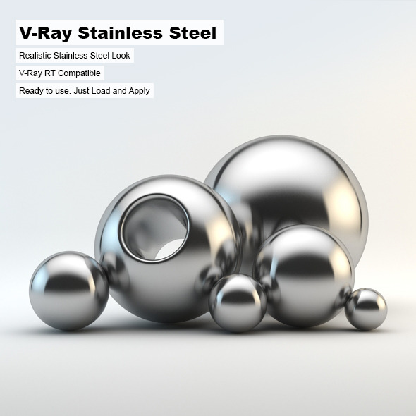 3DOcean V-Ray Stainless Steel Material 3019303