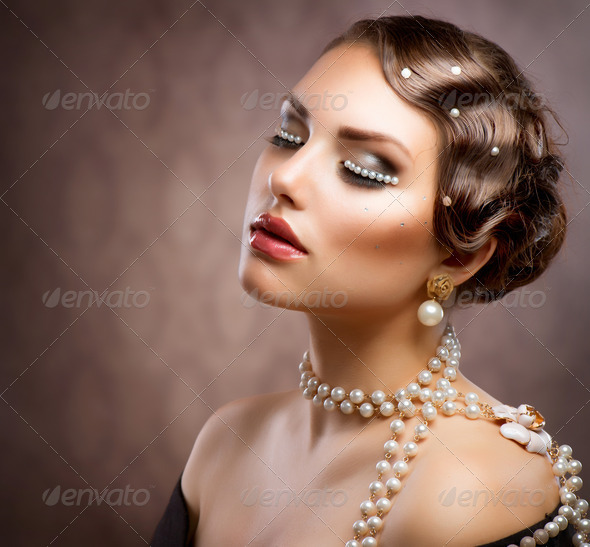 Retro Styled Makeup With Pearls. Beautiful Young Woman Portrait - Stock Photo - Images