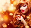 Golden Fashion Girl Portrait. Wavy Red Hair - PhotoDune Item for Sale