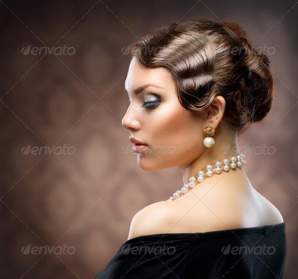 Classical Retro Style Portrait. Romantic Beauty. Vintage - Stock Photo - Images