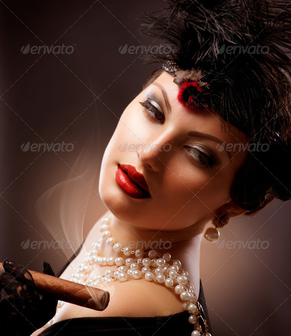 Retro Woman Portrait. Vintage Styled Girl With Cigar - Stock Photo - Images