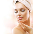 Spa Girl. Beautiful Young Woman After Bath Touching Her Face - PhotoDune Item for Sale