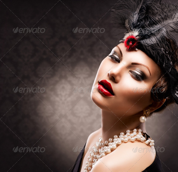 Retro Woman Portrait. Vintage Styled Girl - Stock Photo - Images