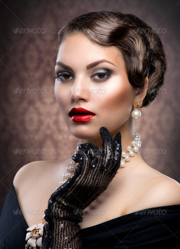Retro Style Portrait. Romantic Beauty. Vintage - Stock Photo - Images