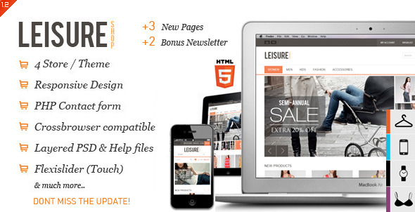 ThemeForest Leisure Responsive E-commerce HTML5 Template 2782347