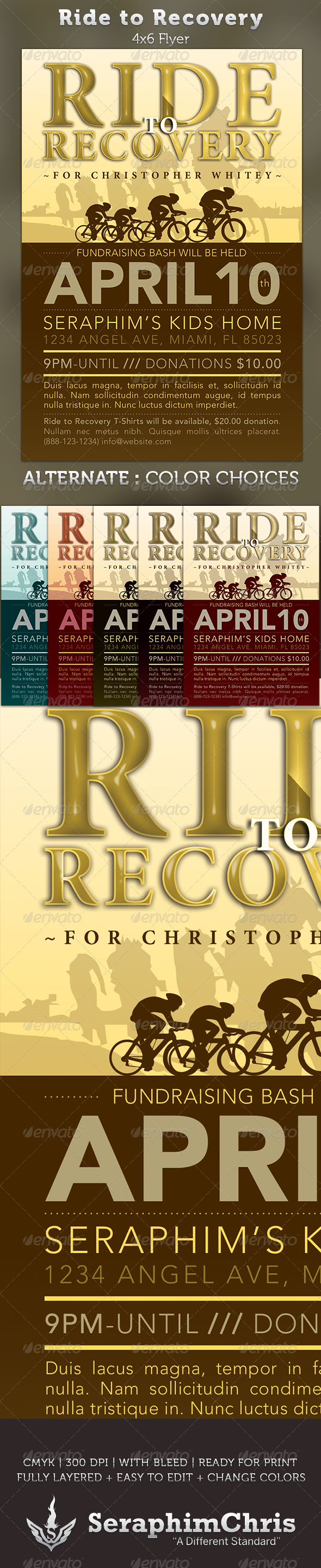 Ride to Recovery: Fundraiser Flyer Template - Events Flyers