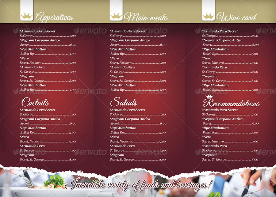 trifold restaurant menu - Military.bralicious.co