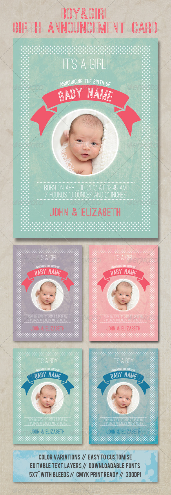 Birth Announcement Card - Family Cards & Invites