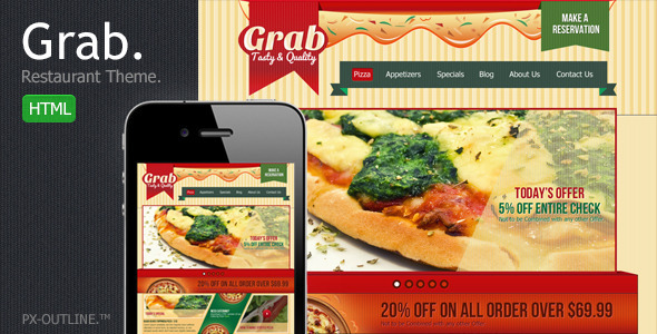ThemeForest Grab Restaurant Theme HTML Template 2493451