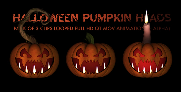 Halloween Pumpkin Heads Pack of 3