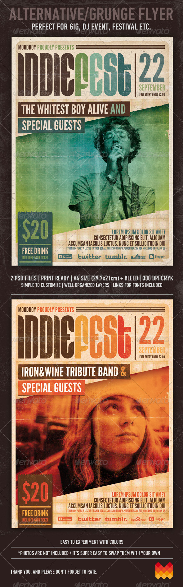 GraphicRiver Indie Fest Flyer Poster 3022920