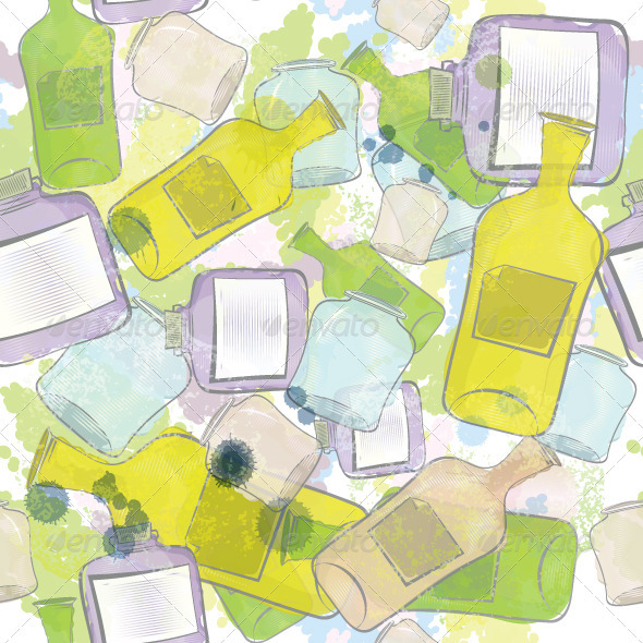 Jars and Bottles Seamless Pattern - Textures / Fills / Patterns Illustrator