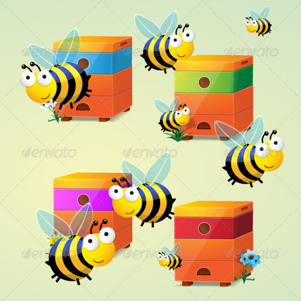 GraphicRiver Bees Vector 310214