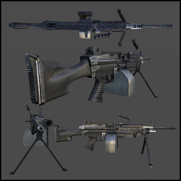 M249 Light Machine Gun, (SAW) - 3DOcean Item for Sale