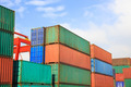 Stack of Cargo Containers  in an intermodal yard - PhotoDune Item for Sale