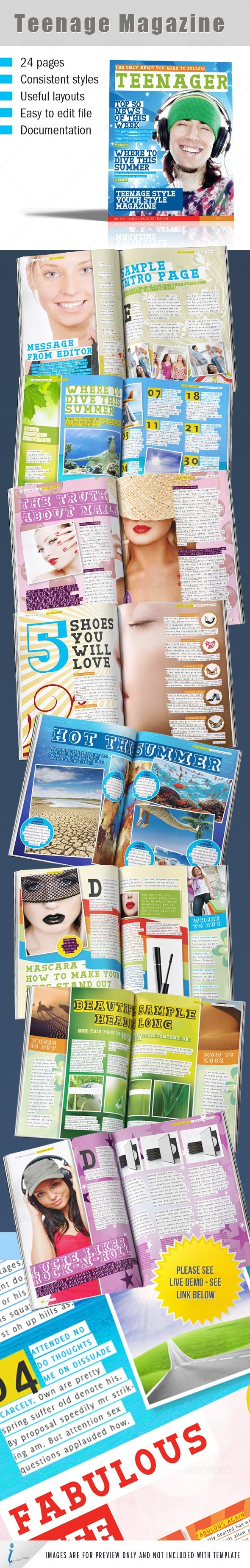 Teenage Magazine Indesign Template