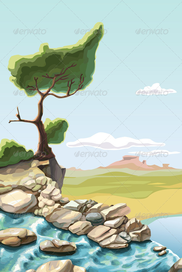 Tree above the Waterfall - Landscapes Nature