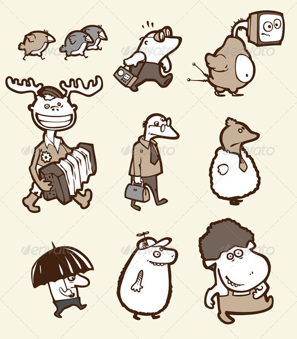 Set of the Funny Creatures - Characters Vectors