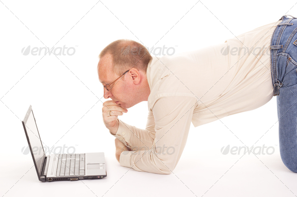 Man working over the internet at home - Stock Photo - Images