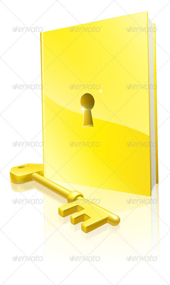 Golden locked book and key - Characters Vectors