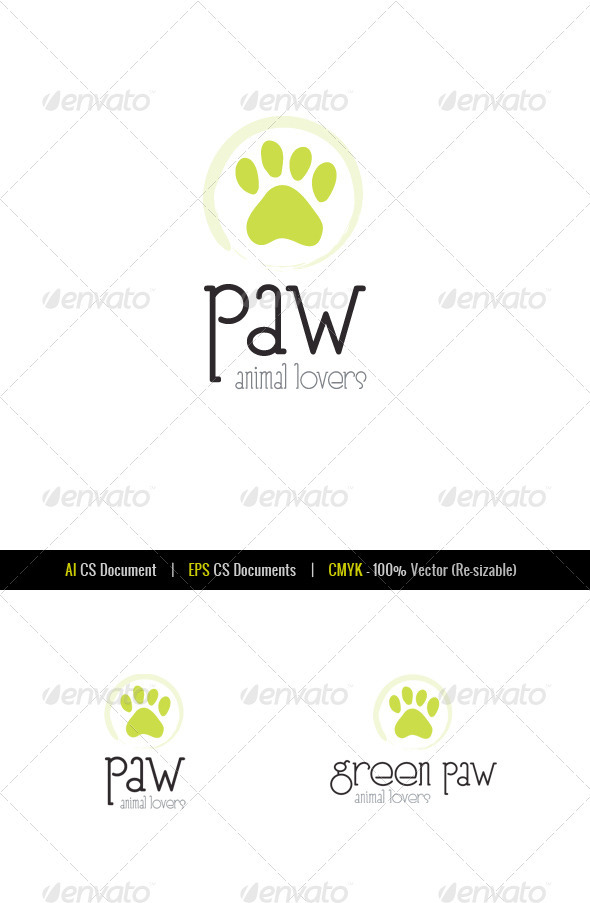 Green Paw Animal Store Logo Template