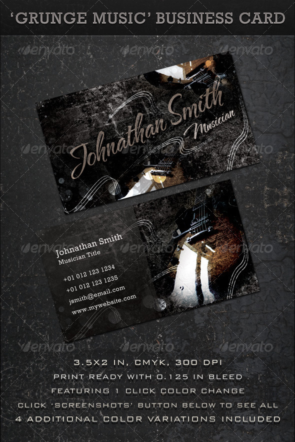 GraphicRiver Grunge Music Business Card 310584