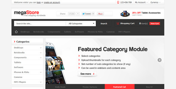 ThemeForest MegaStore OpenCart Theme 3026215