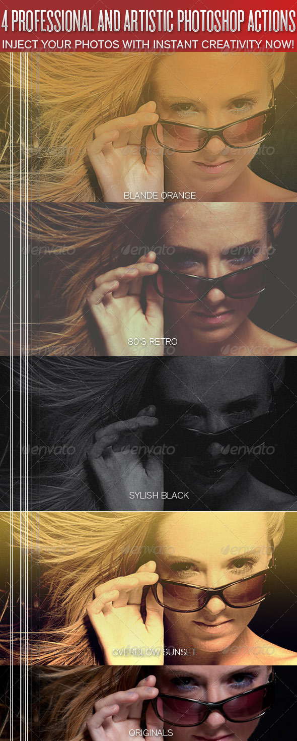 4 Professional Photo Looks #2 - Photoshop Actions - Photo Effects Actions