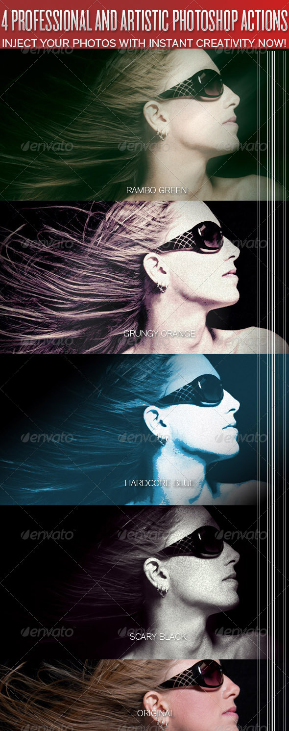 4 Professional Photo Looks #3 - Photoshop Actions - Photo Effects Actions