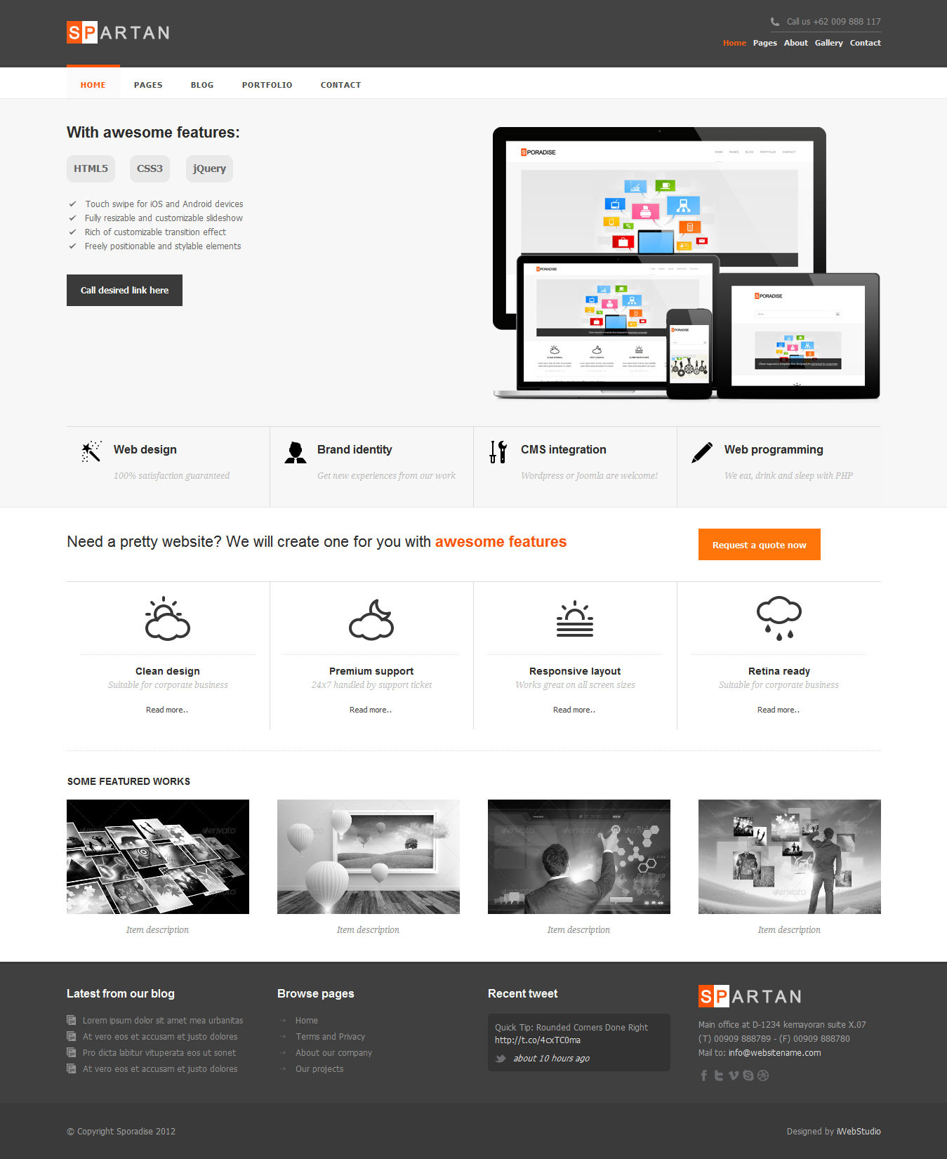 Spartan clean responsive business template
