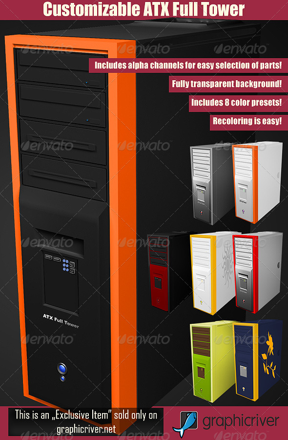 Customizable ATX Full Tower PC Case - Technology 3D Renders