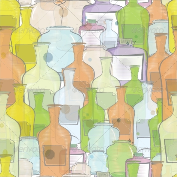GraphicRiver Water Color Bottles Seamless Vector 3028675