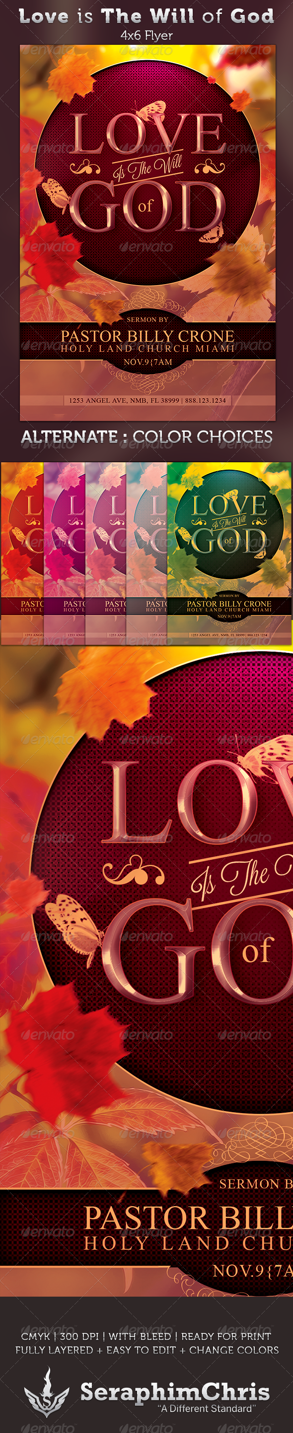 Love is The Will of God: Church Flyer Template - Church Flyers