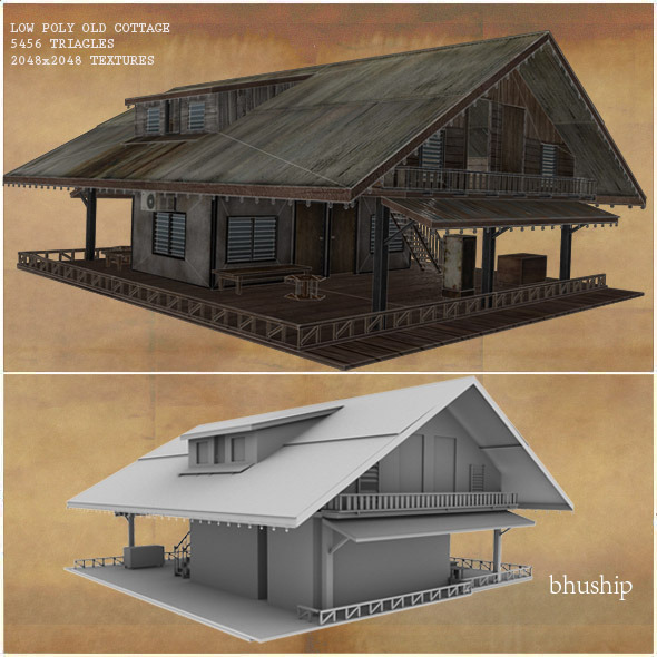 Low Poly Old Cottage 3D Model - 3DOcean Item for Sale