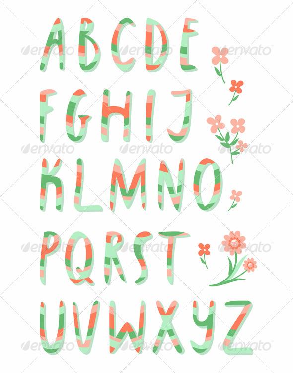 GraphicRiver Striped alphabet 3024380