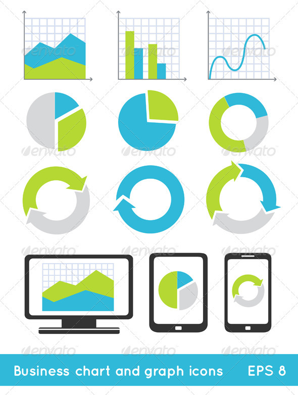 Business Chart And Graph Icons - Web Elements Vectors