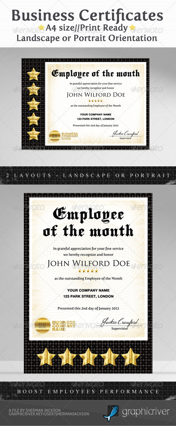 Employee of the month certificates templates new for Employee of the month certificate template free download