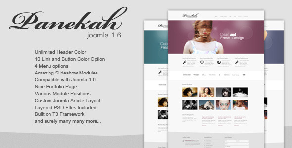 Panekah - Creative Joomla Template 1.6 - Photography Creative