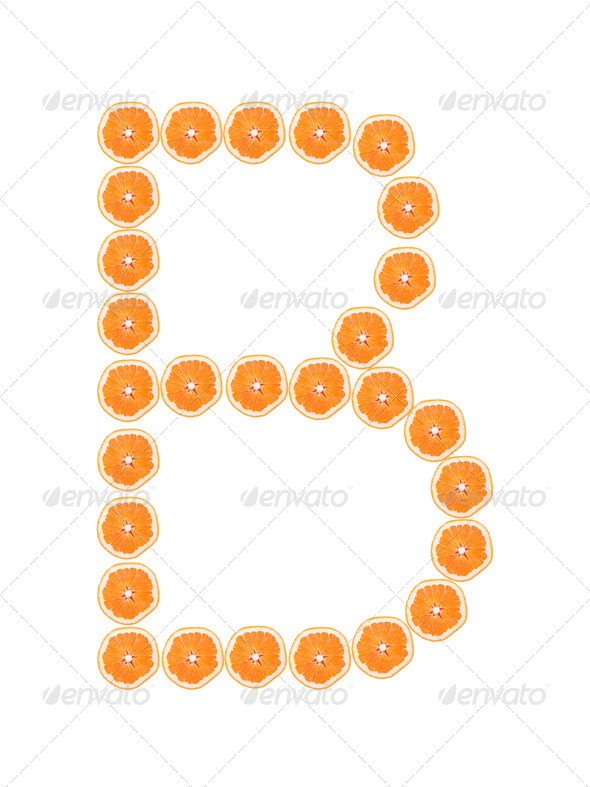 "Letter ""B"" from orange slices isolated on white - Stock Photo - Images"