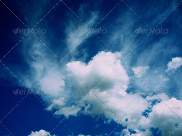 Deep Blue Clouds in Sky - Stock Photo - Images