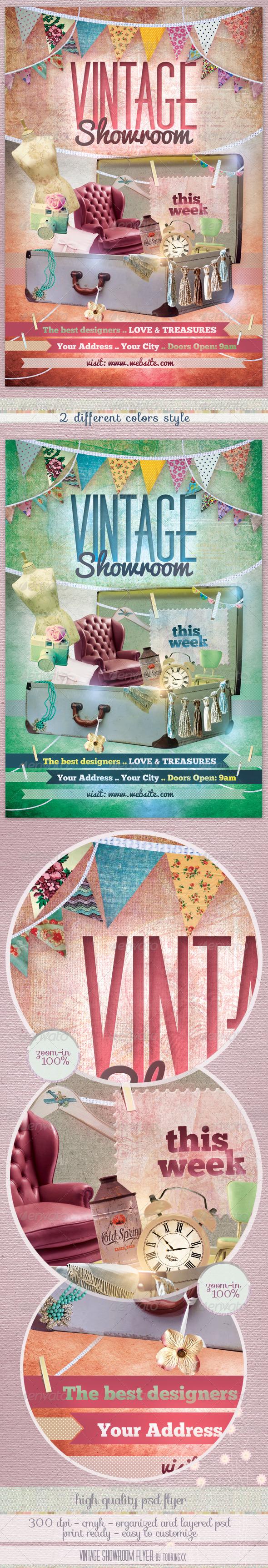 GraphicRiver Vintage Showroom Flyer Template 3031551