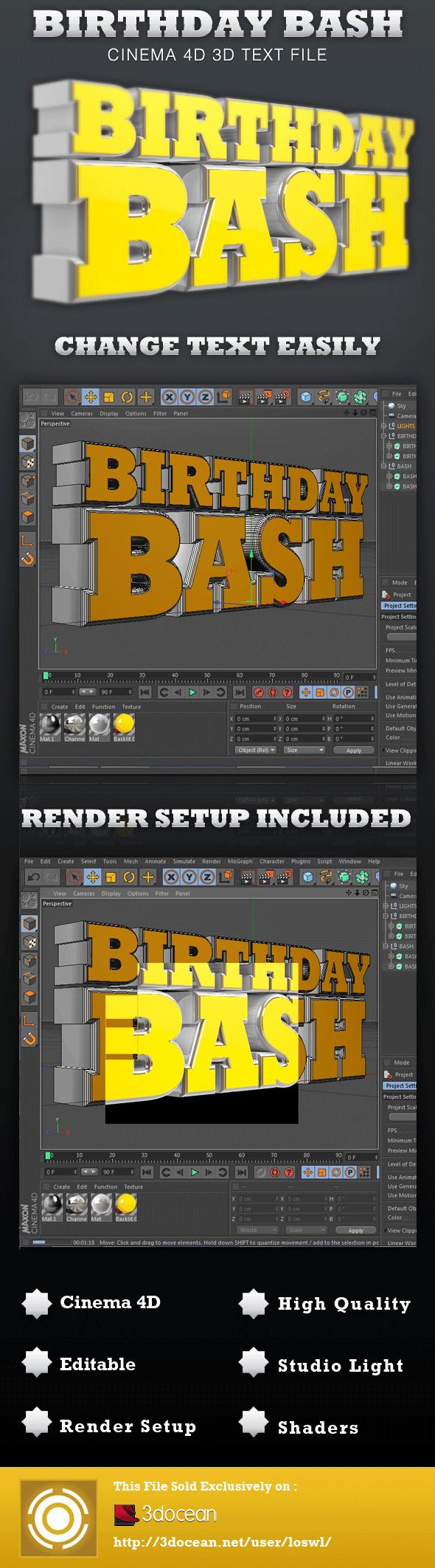 Birthday Bash Cinema 4D 3D Text File - 3DOcean Item for Sale